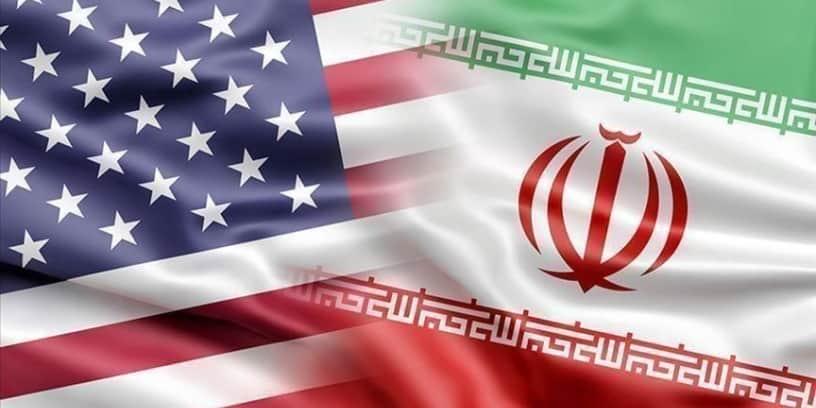 Illustration des drapeaux américain et iranien